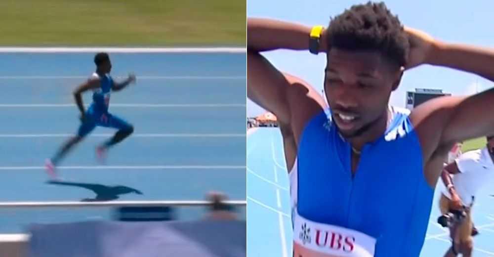 Noah Lyles sprang 200 meter på världsrekordtiden 18,90 – problemet var att talangen hade startat från 185 meter och felet upptäcktes efteråt.