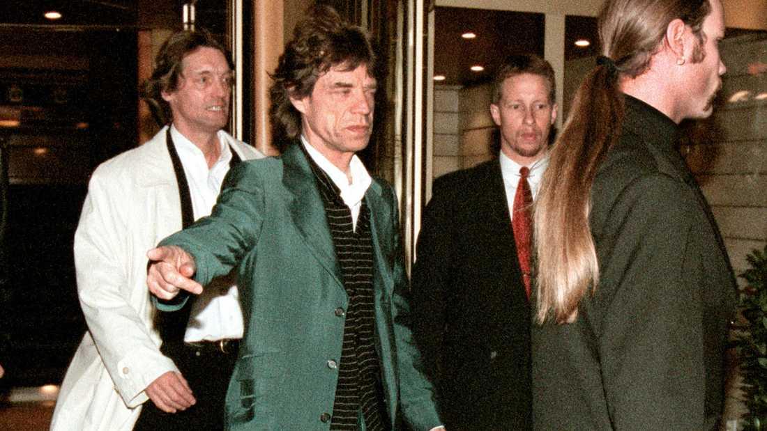 Johannes Brost och Mick Jagger 1998.