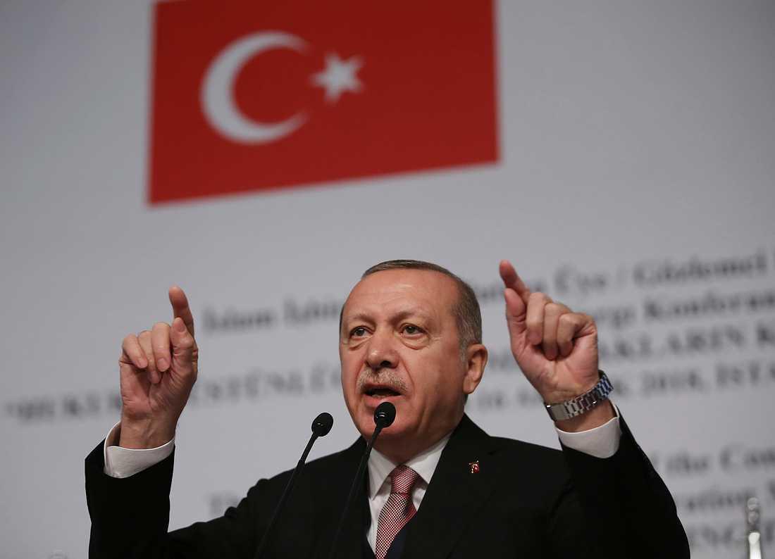 Turkiets president Recep Tayyip Erdogan lovar att ta över efter USA i Syrien – och rensa ut såväl IS som kurdstyrkor. Arkivbild.