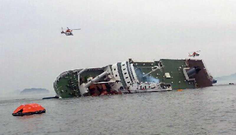 Fartyget Sewol på väg att sjunka