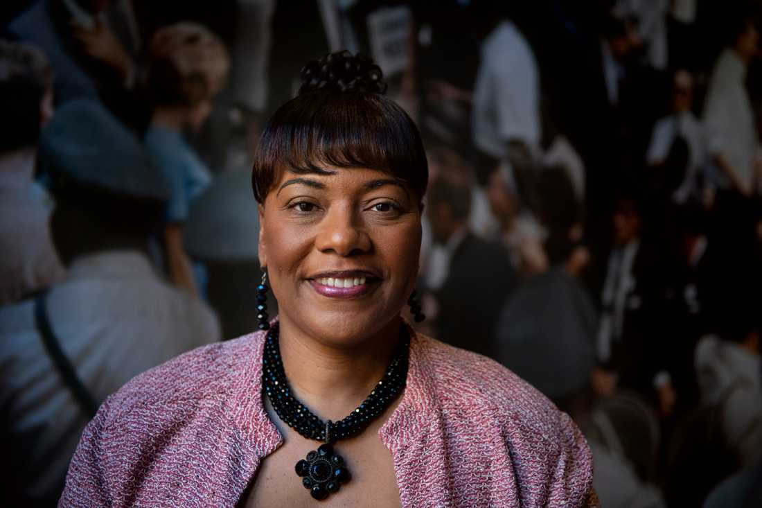 Människorättskämpen Martin Luther Kings yngsta dotter Bernice King på Nobelmuseet i Stockholm. Där visas utställningen A right to Freedom – Martin Luther King Jr. Bernice King är chef för The King Center i Atlanta i Georgia.