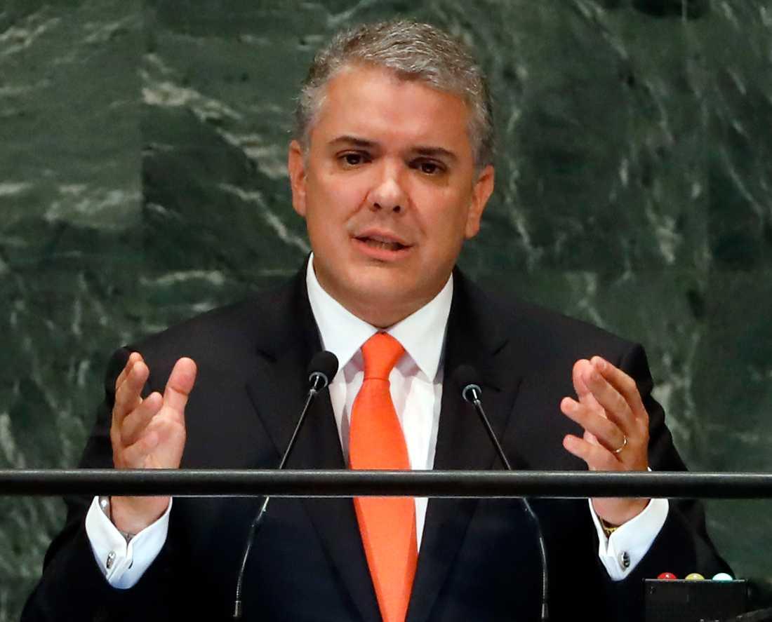 Colombias president Iván Duque, här i FN:s generalförsamling. Arkivbild.