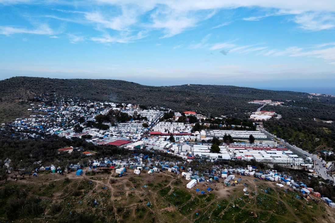 Det överfulla lägret Mória på den grekiska ön Lesbos – ett av de läger som pekats ut som extra sårbara för covid-19. Arkivbild.