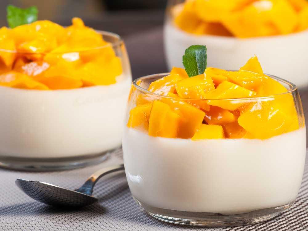 Pannacotta med vit choklad och mango