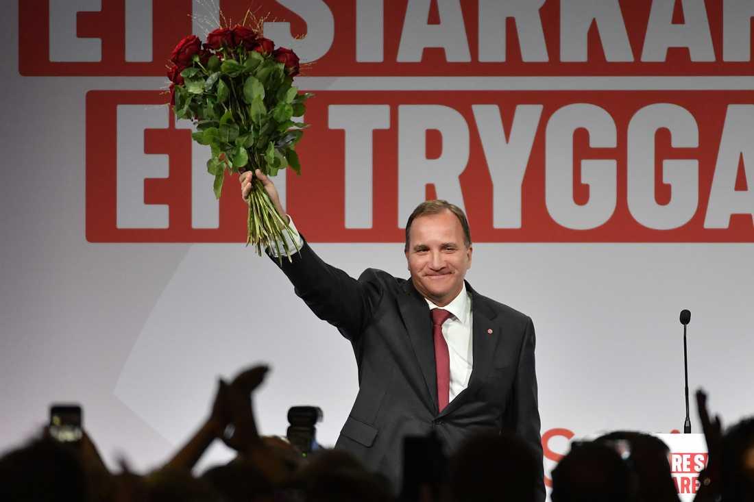 Partiledaren Stefan Löfven under Socialdemokraternas valvaka på Färgfabriken i Stockholm.