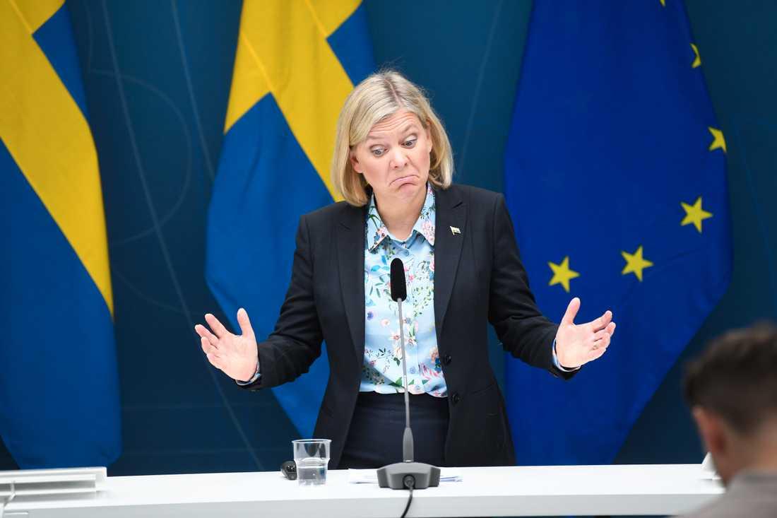 Finansminister Magdalena Andersson (S) budgetunderskott för 2020 växer mer än väntat i coronakrisen. Arkivbild