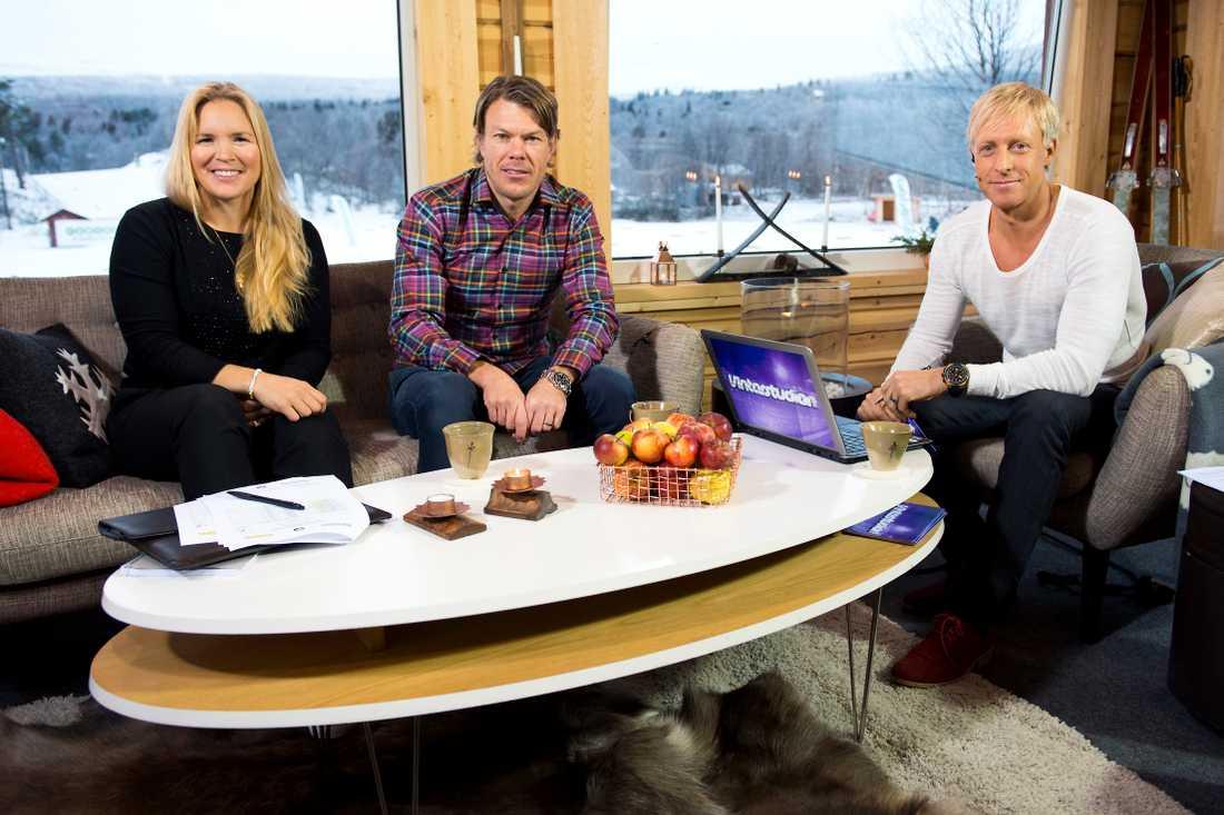Vinterstudion under en sändning 2014. Fr.v: Anja Pärsson, Mathias Fredriksson och André Pops.