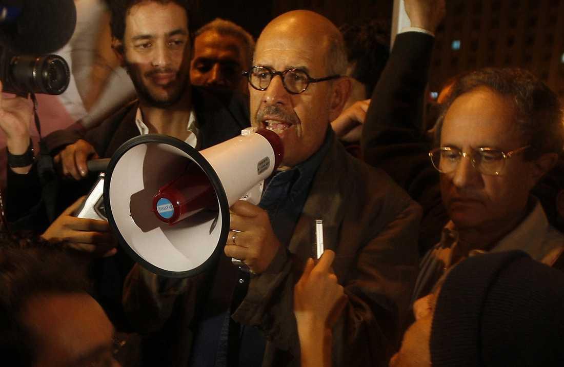 Före detta FN-diplomaten Muhammed ElBaradei talade i går inför tiotusentals anhängare.