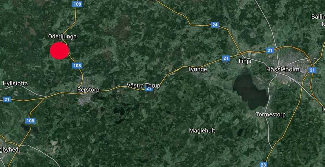 Branden inträffade i Oderljunga i Skåne.