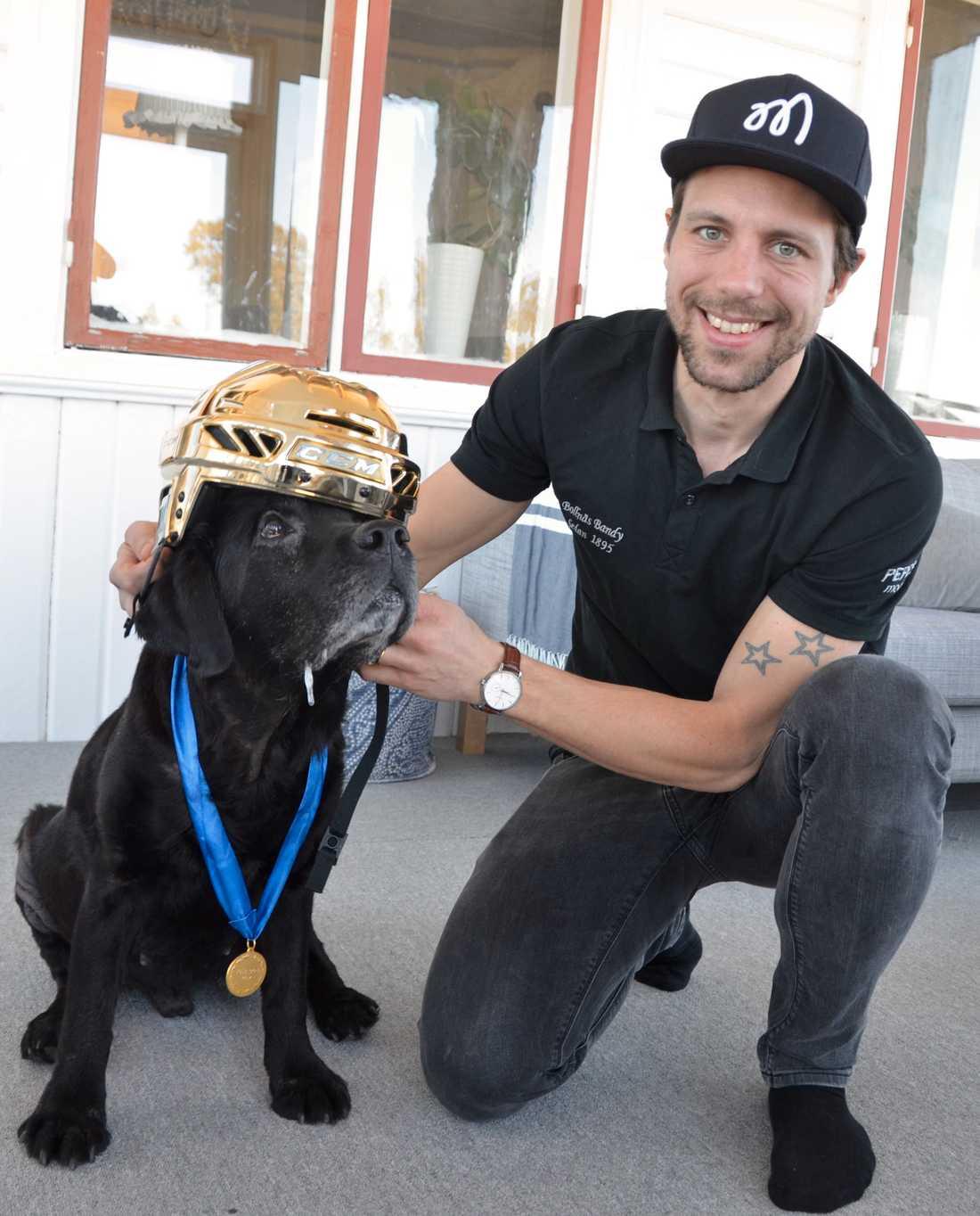 Per Hellmyrs klär upp labradoren Tjabo inför SM-finalen mellan Bollnäs och Edsbyn.
