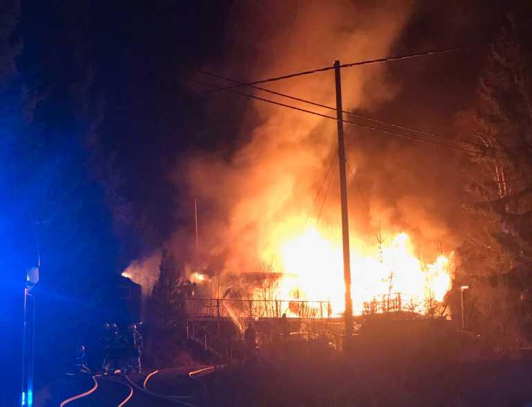 Brand i villa under natten till lördagen.