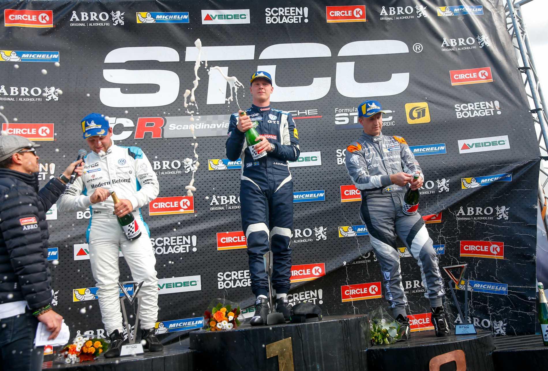 Johan Kristoffersson vann första heatet på Mantorp och blev mästare i STCC.