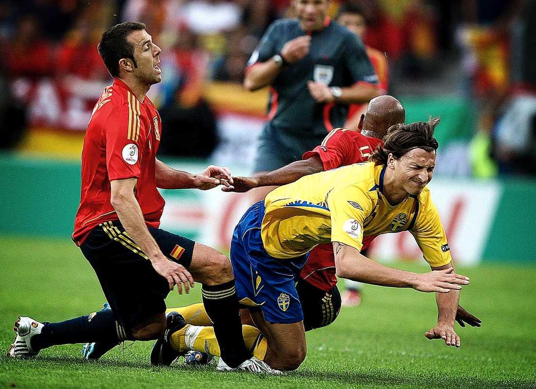 Zlatan skrämde slag på Spanien i EM 2008.