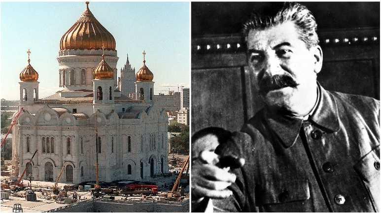 Den förstörda Kristus frälsarens katedral återuppbyggs 1997. Diktatorn Josef Stalin (1878–1953) fick aldrig sitt monument Sovjeternas palats.
