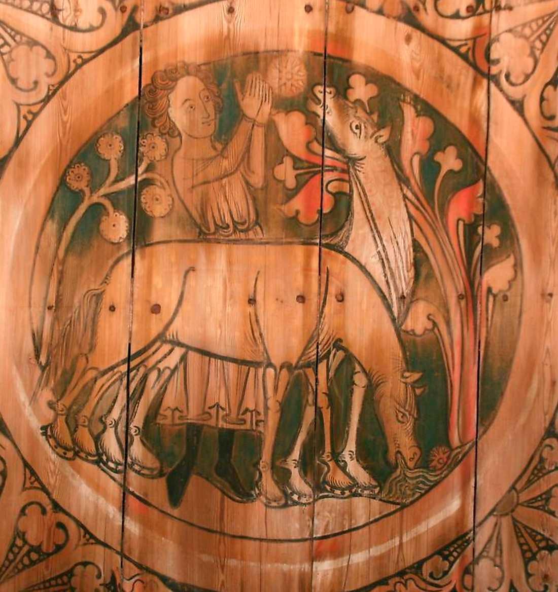 Staffan stalledräng vattnar fålar i medeltida takmålning från 1200-talet i Dädesjö gamla kyrka i Småland.