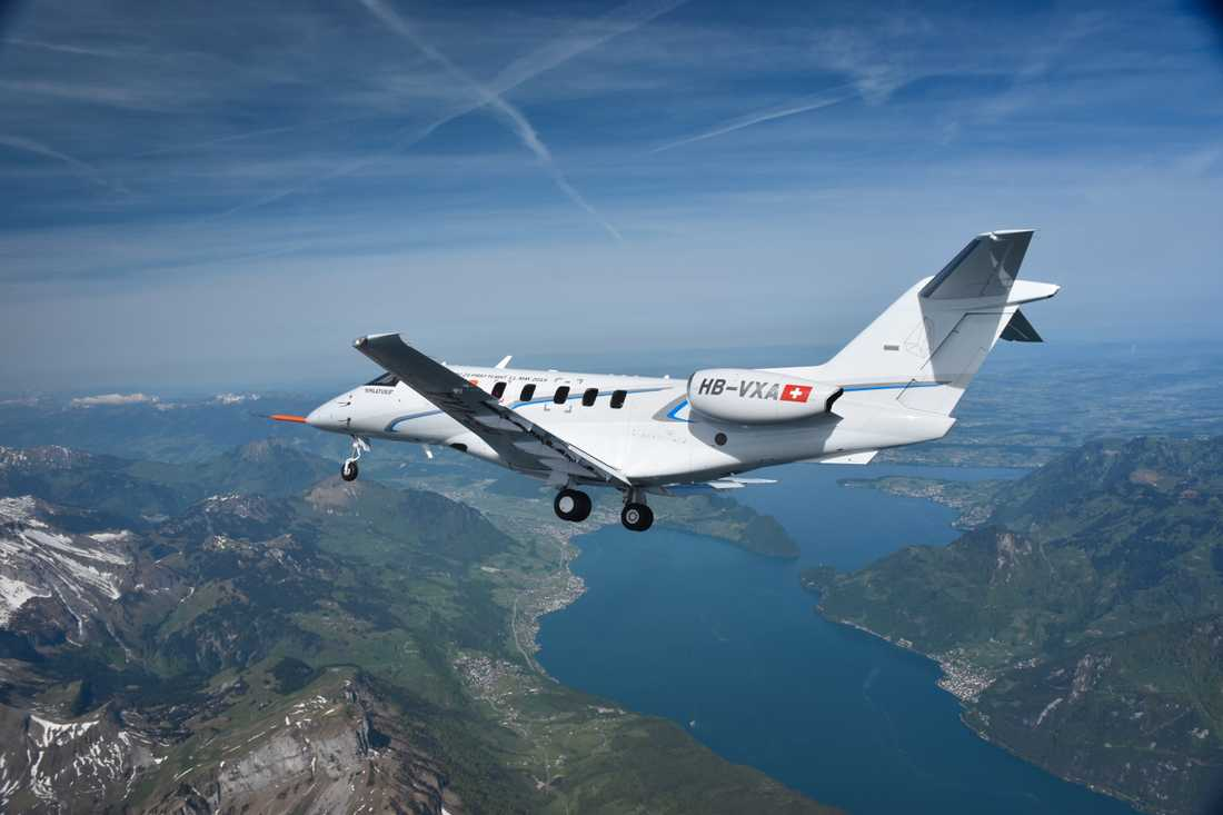 Ett Pilatusflygplan av typen PC-24, som Svenskt Ambulansflyg nu köper i sex exemplar.