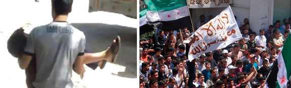 Bild från en amatörvideo där man bär bort ett skadat barn och till höger: demonstrationer mot Syriens president Bashar Al-Assad.