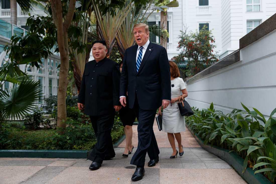 Donald Trump och Kim Jong-Un träffades i Hanoi i februari. Arkivbild.