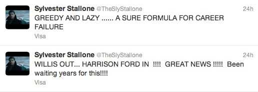 Sylvester Stallones tweets.