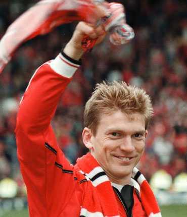 Jesper Blomqvist i Manchester United 1999.