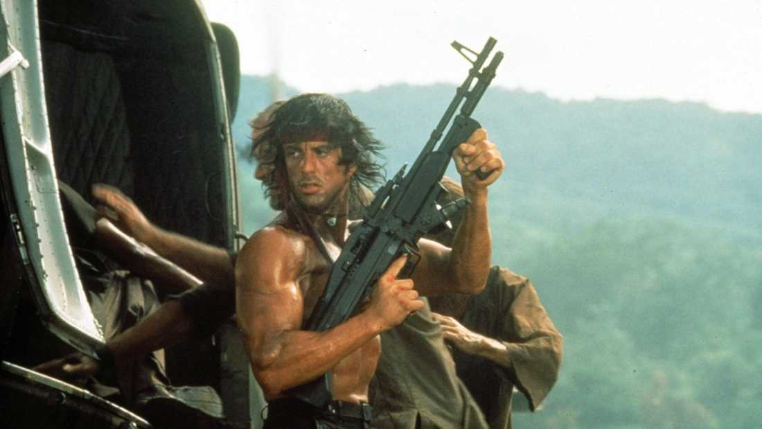 """Sylvester Stallone i """"Rambo: First blood II"""" (1985)."""