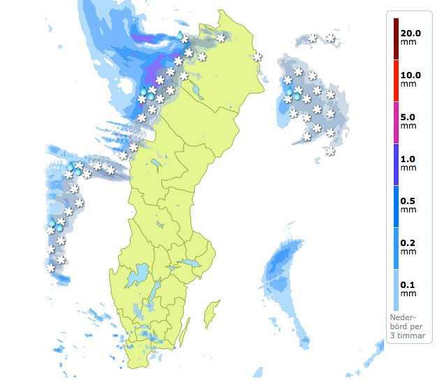 Kl 10.00 Lördag Här är en prognos för nederbörden från Klart.se