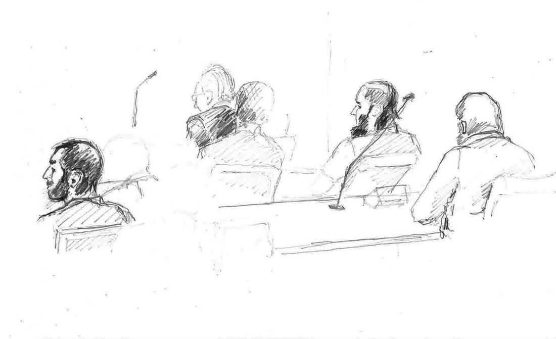 Illustration från tingsrättsförhandlingen mot männen. Arkivbild.