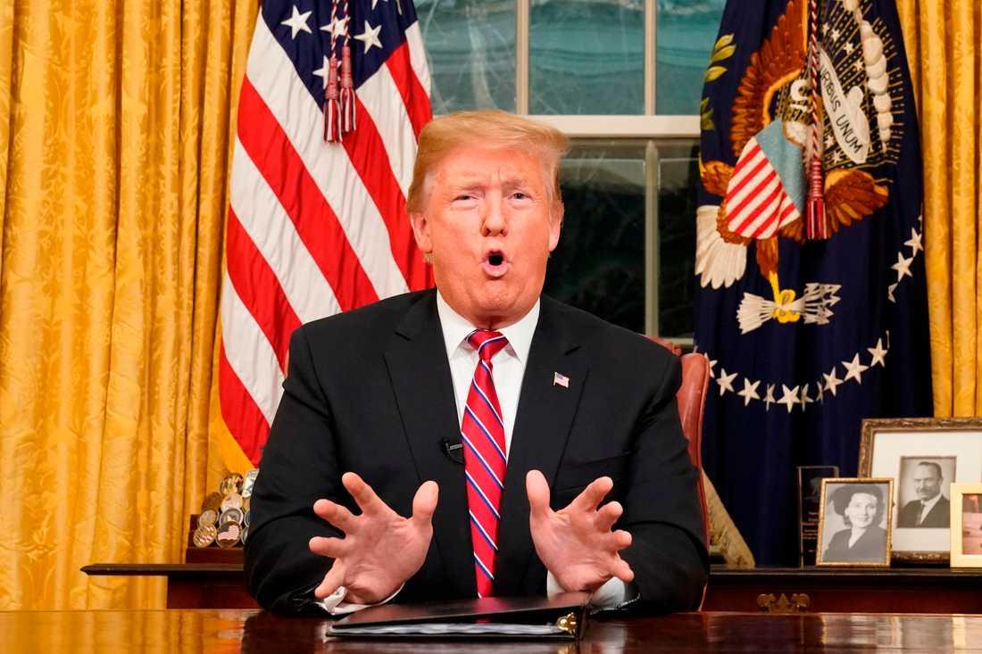 Donald Trump under talet till nationen.