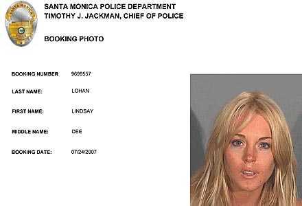Lindsay har blivit plåtad av polisen förr.