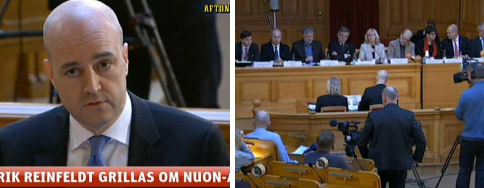 Fredrik Reinfeldt ville inte svara på frågan om regeringen var kollektivt ansvarig för godkännandet av Nuonaffären.