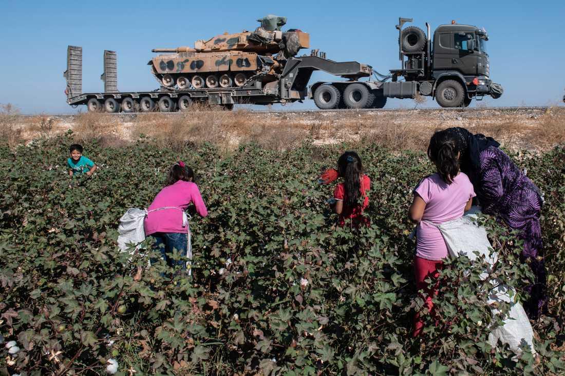 Turkisk militärtransport och bomullsplockare nära gränsen mot Syrien.