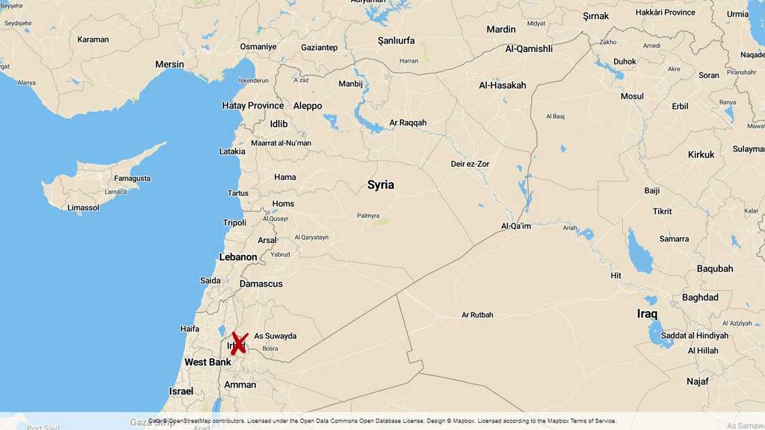 Staden Muzayrib i provinsen Daraa i Syrien.