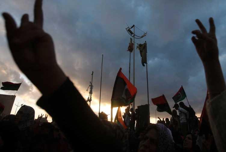 Protest i Bengazhi under söndagen.