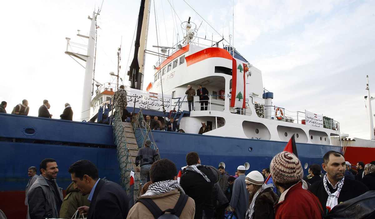 Beslagtaget Det libanesiska fartyget bogseras nu till en israelisk hamn. Här ses fartyget innan avfärden mot Gaza-remsan.