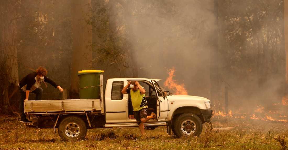 Två personer förbereder sig för att stoppa en brand i Koorainghat nära Taree i New South Wales på tisdagen.