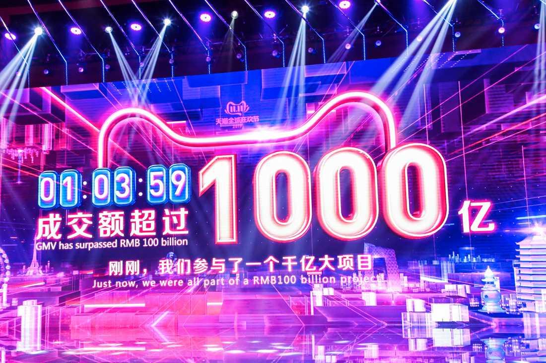 Försäljningssumman på shoppingsajten Alibaba tickar på en gigantisk annonstavla.