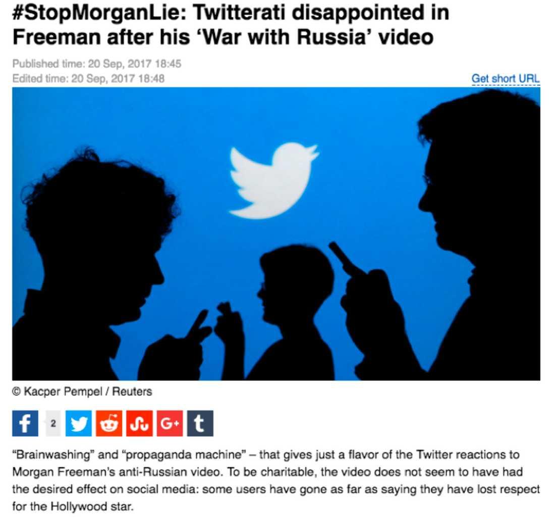 """RT:s artikel om """"twitter-stormen"""" mot Morgan Freeman, som skapades av ryska trollfabriker, och spreds vidare av botar och ryska myndighetskonton."""