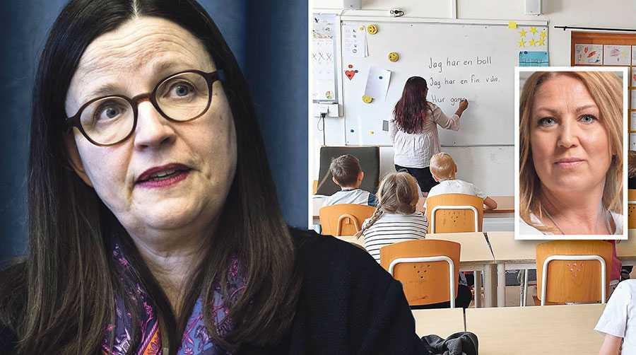 Utbildningsminister Anna Ekström och regeringen tänjer till det yttersta för att få skolpaketet att framstå som betydande resursmässiga förstärkningar i skolan – det är det inte, skriver Johanna Jaara Åstrand.