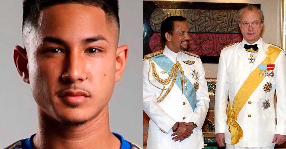 Till vänster: Faiq Bolkiah. Till höger: Carl XVI Gustaf på statsbesök i Brunei 2004.