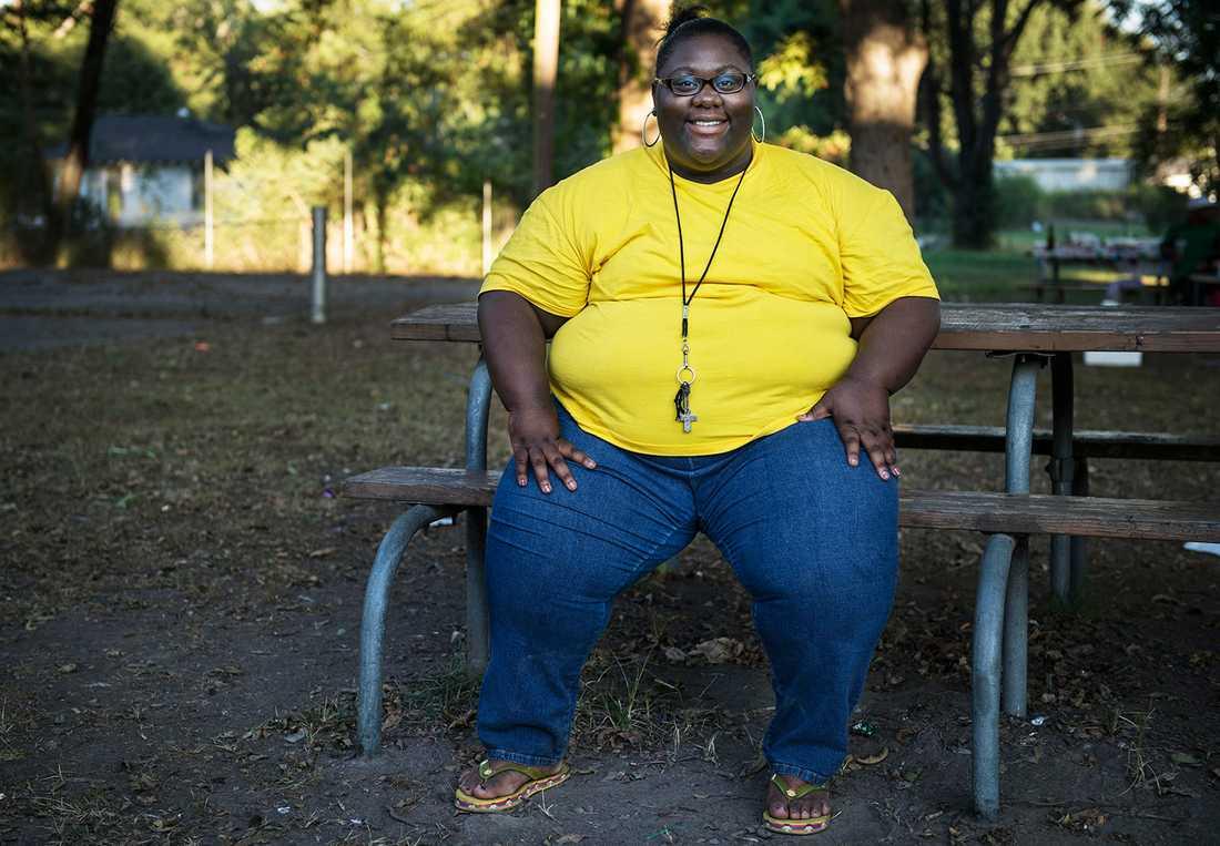 Kimberly är 160 centimeter lång och väger strax under 200 kilo