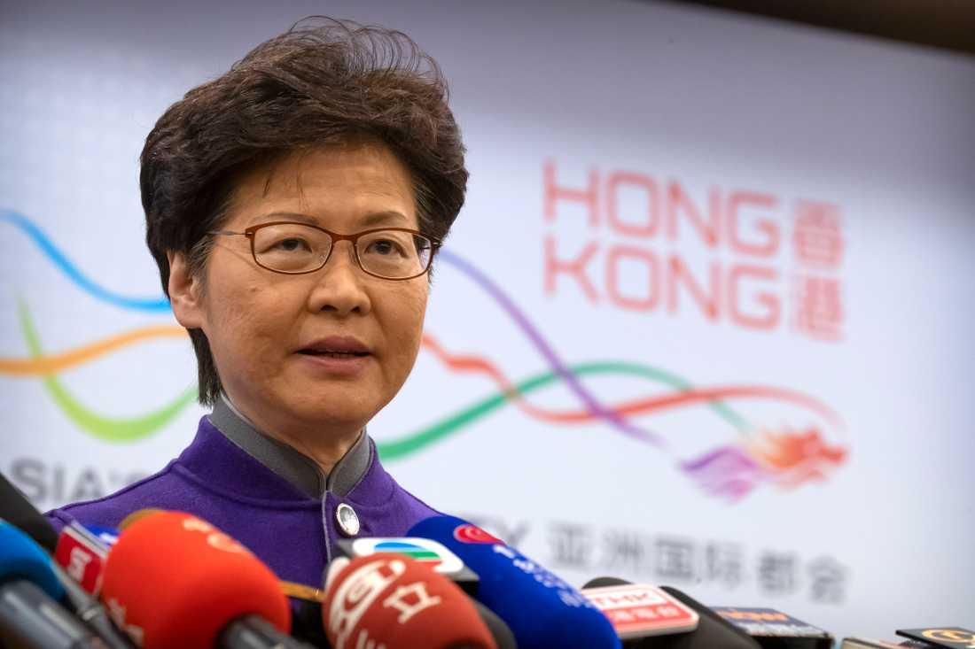 Hongkongs nuvarande ledare Carrie Lam.