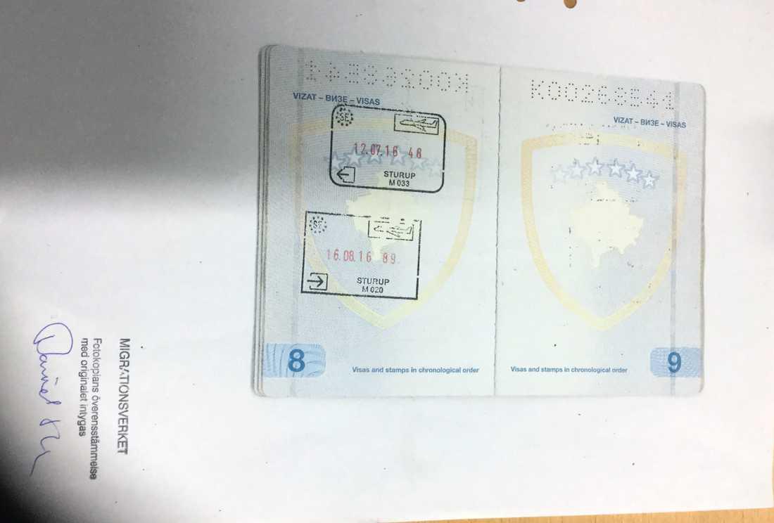 Lulzim Elshani har skickat in kopior av sitt pass som visar att han reste utomlands i juli och kom hem en dryg månad senare. Trots det menar Migrationsdomstolen att Lulzim Elshani inte har tagit ut tillräckligt många semesterdagar.