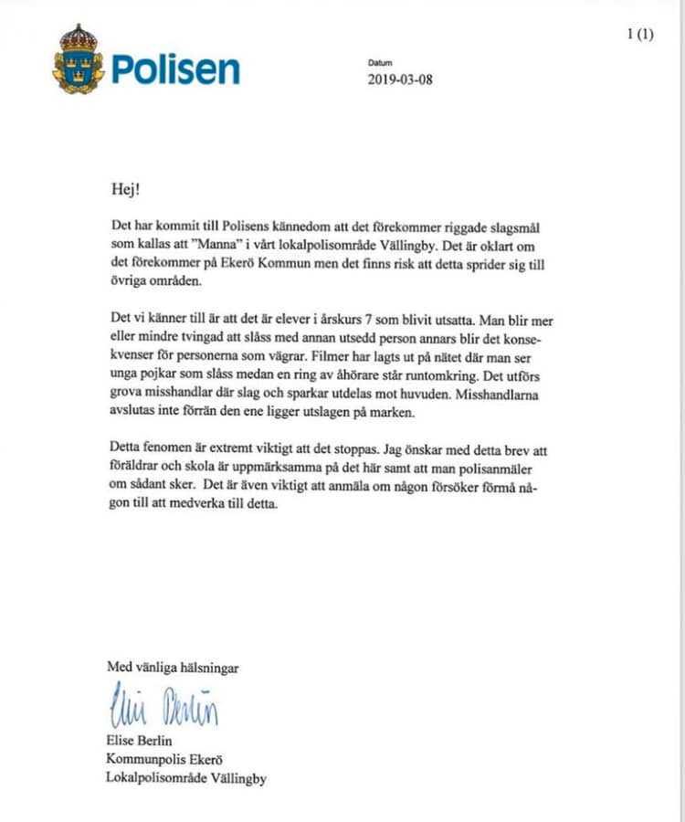 Polisens meddelande har spridits på Facebook.