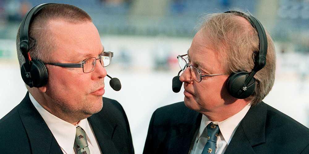Två av profilerna under hockey-VM:s sändningar, Leif Boork och Lasse Kinch.