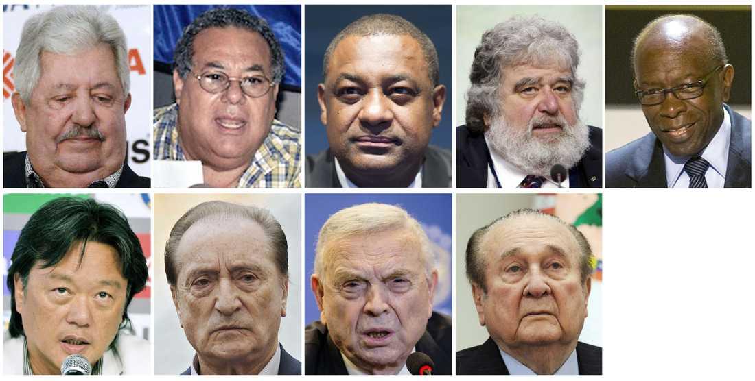 Rafael Esquivel, Julio Rocha, Jeffrey Webb, Chuck Blazer, Jack Warner, Eduardo Li, Eugenio Figueredo, Jose Maria Marin och Nicolas Leoz.