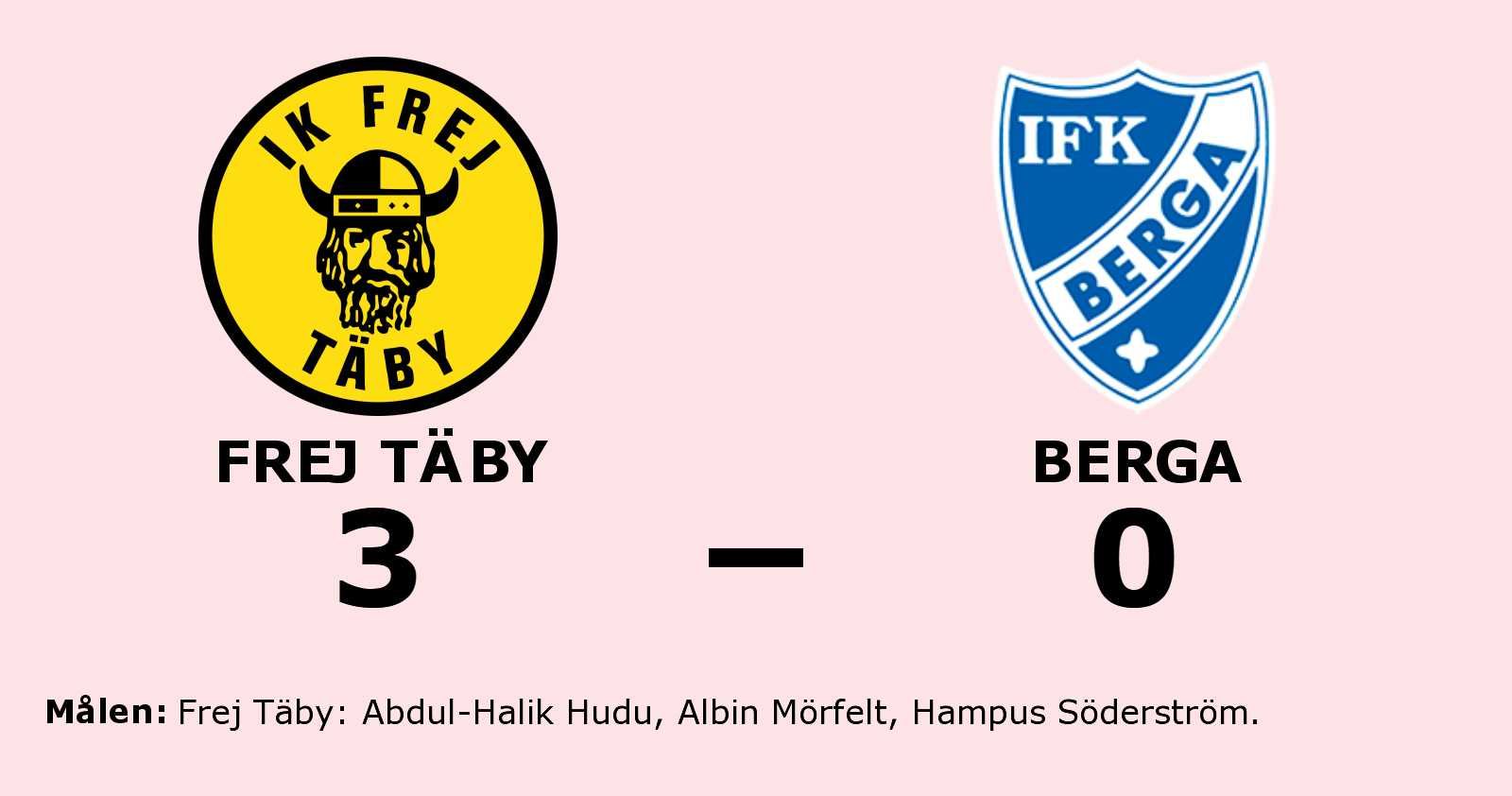 Frej Täby avgjorde i andra halvlek mot Berga