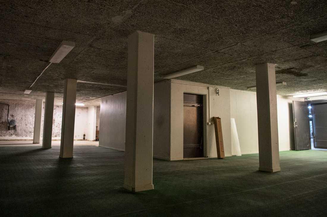 I det här skyddsrummet finns det plats för 300 personer.