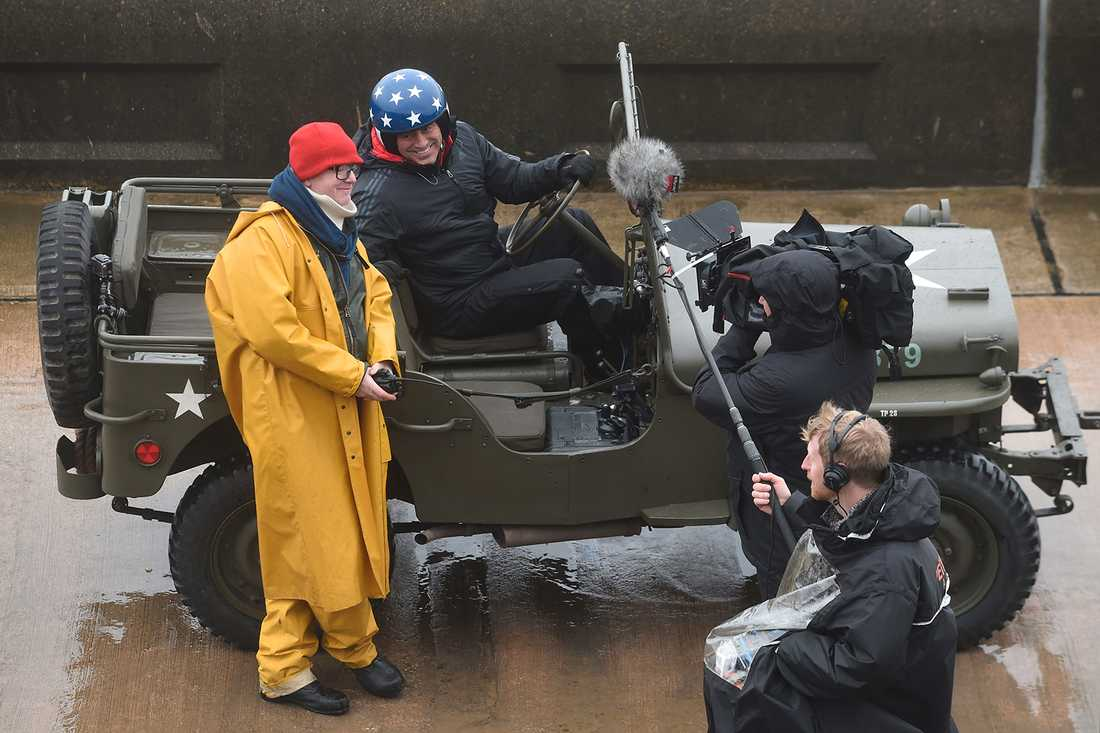 Chris Evans och Matt LeBlanc vid inspelningen av nya Top Gear.