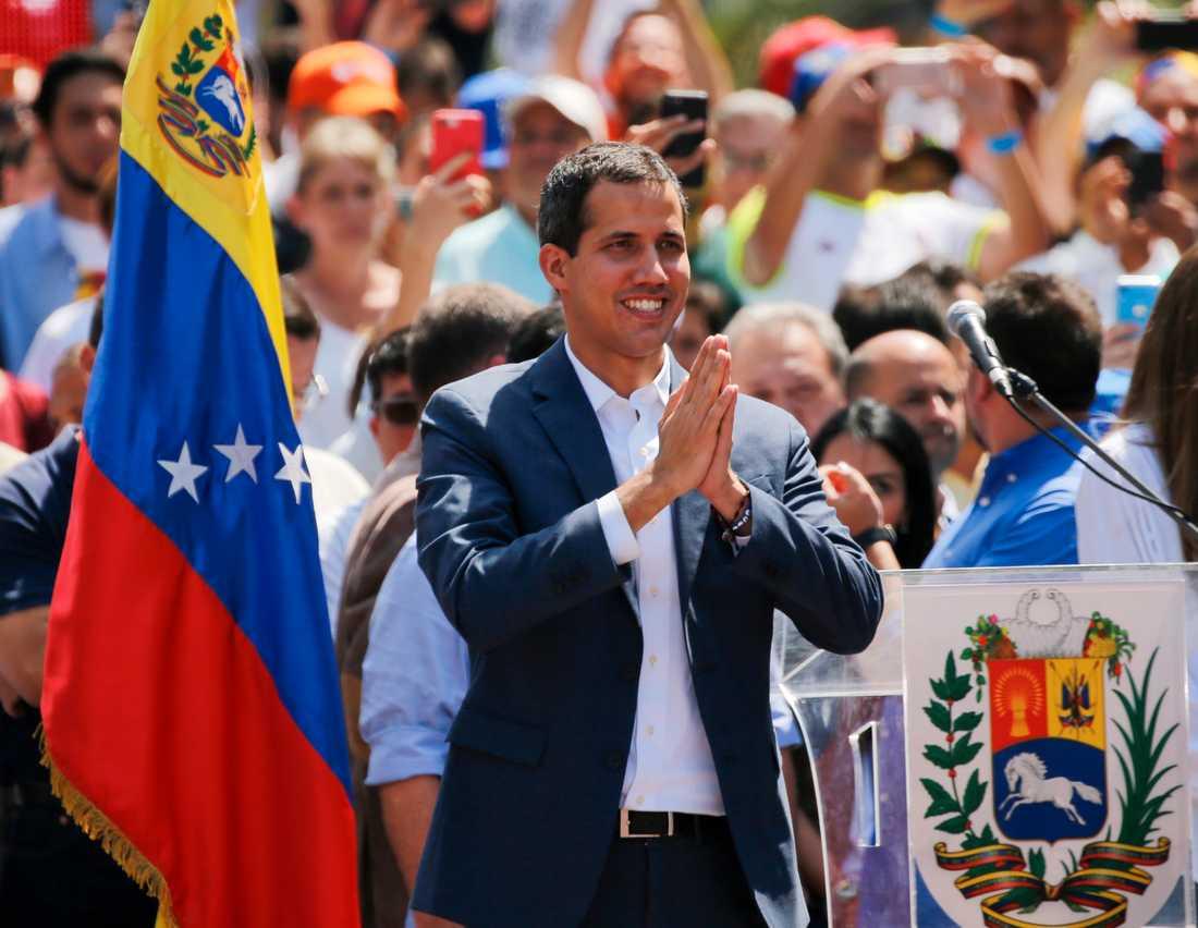 Oppositionsledaren Juan Guaidó under en demonstration i Venezuelas huvudstad Caracas i helgen.