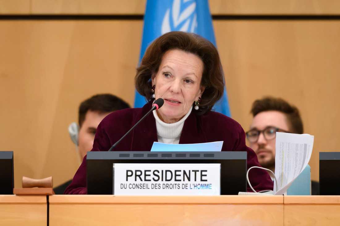 Elisabeth Tichy-Fisslberger, ordförande för FN:s råd för mänskliga rättigheter, när rådet beslutade att avbryta sitt årliga möte i mitten av mars på grund av coronapandemin.
